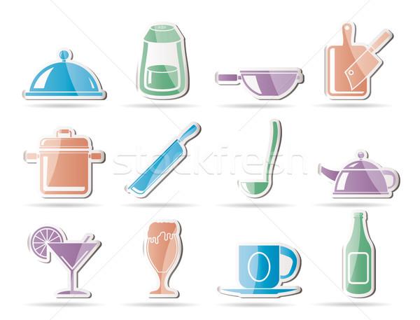 Restaurante café comida beber ícones vetor Foto stock © stoyanh
