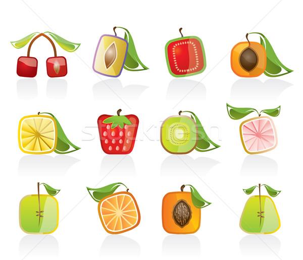 Streszczenie placu owoców ikona wektora Zdjęcia stock © stoyanh