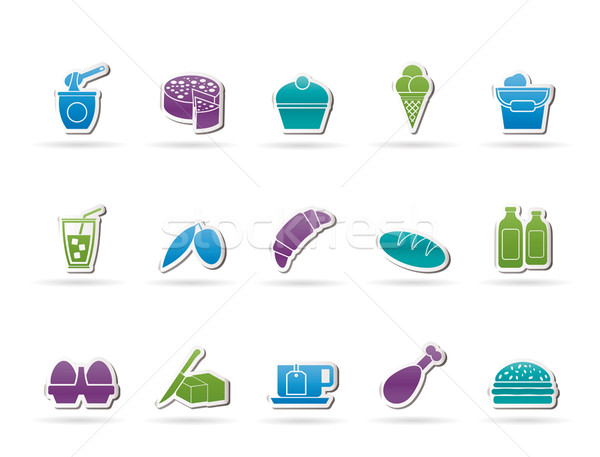 Dairy Products - Food and Drink icons Stock photo © stoyanh