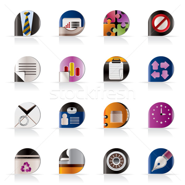 Realistisch business kantoor iconen vector Stockfoto © stoyanh