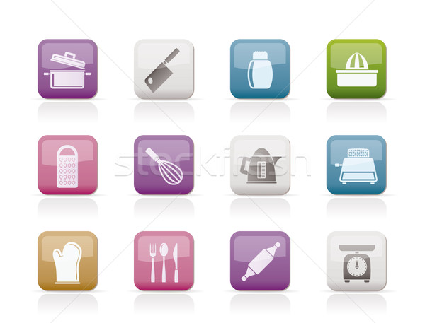 Stock photo: Kitchen and household Utensil Icons