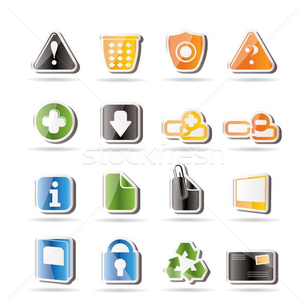 Egyszerű weboldal számítógép ikonok vektor ikon gyűjtemény irat Stock fotó © stoyanh