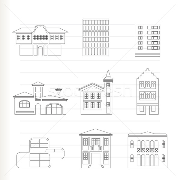Stock photo: different kind of houses and buildings