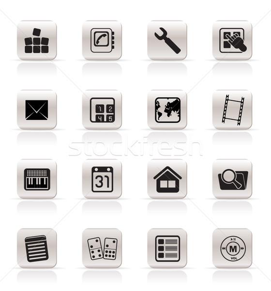 Simples telefone móvel ícone do computador vetor negócio Foto stock © stoyanh