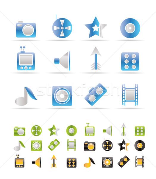 Stock foto: Unterhaltung · Symbole · Vektor · Farben · Fernsehen