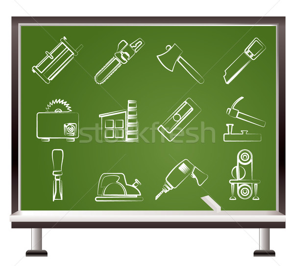 painted with chalk Woodworking industry and Woodworking tools icons  Stock photo © stoyanh