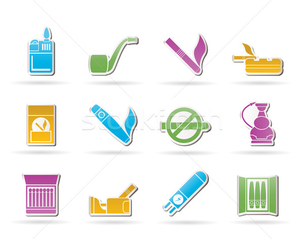 Smoking and cigarette icons Stock photo © stoyanh