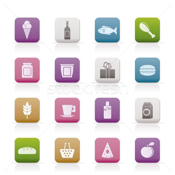 Stockfoto: Winkel · voedsel · drinken · iconen · vector