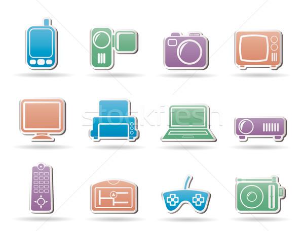 Techniques équipement icônes vecteur affaires Photo stock © stoyanh