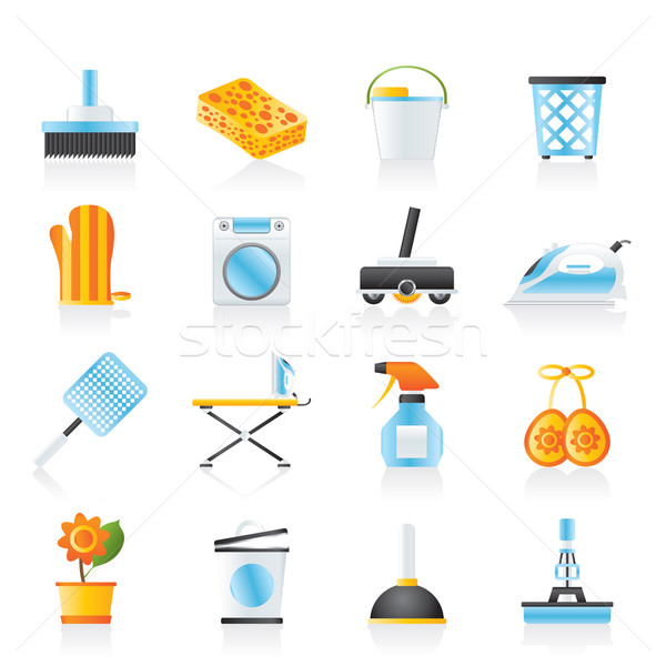 Household objects and tools icons  Stock photo © stoyanh