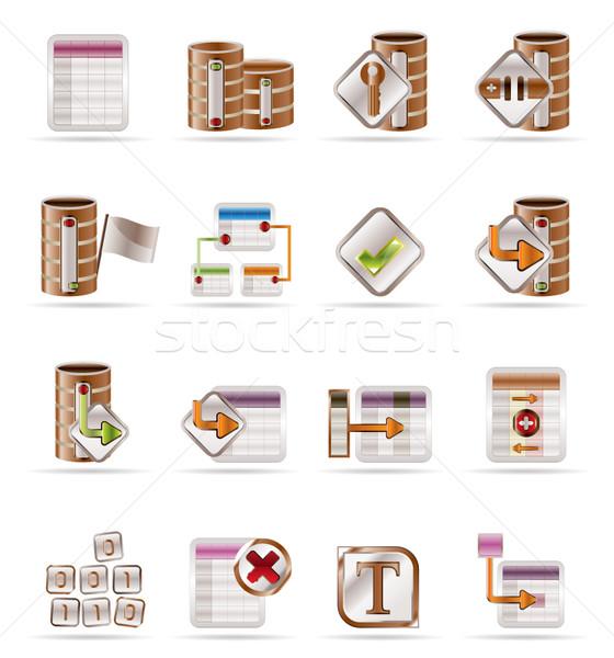 Stockfoto: Database · tabel · iconen · vector · business