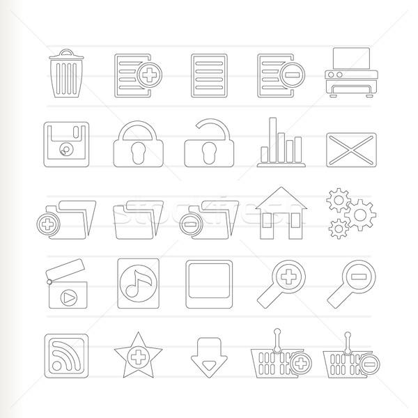 На 25 подробный Интернет иконы вектора интернет Сток-фото © stoyanh