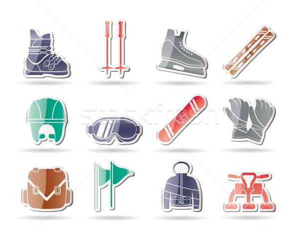 Fondo Con Iconos De Deporte: Esquí · Vector · Icono · Deporte · Fondo · Web