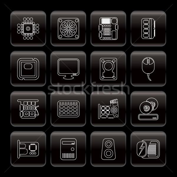 Stockfoto: Lijn · computer · prestaties · uitrusting · iconen · vector
