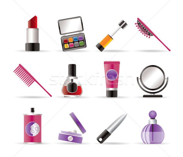 Makyaj simgeler vektör iş saç Stok fotoğraf © stoyanh