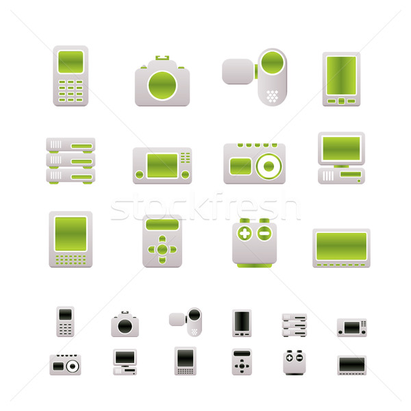 Stockfoto: Technische · media · elektronica · iconen · vector