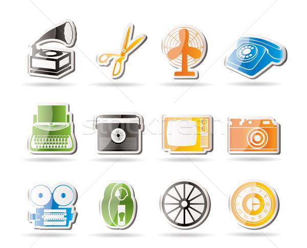 Simple retro negocios oficina objeto iconos Foto stock © stoyanh