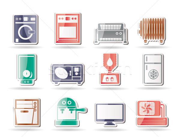 Stok fotoğraf: Ev · elektronik · simgeler · vektör