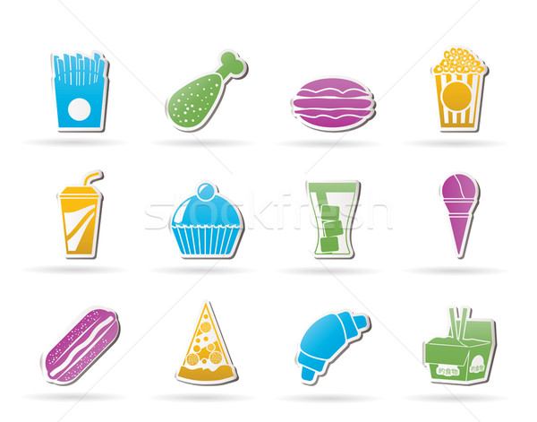 Fast food drinken iconen vector business Stockfoto © stoyanh