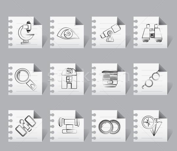 Zdjęcia stock: Optyczny · obiektyw · wyposażenie · ikona · wektora