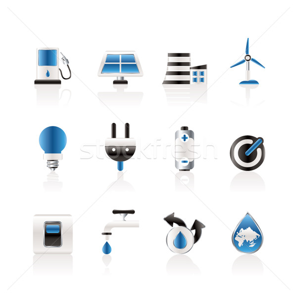 Ecology, power and energy icons Stock photo © stoyanh