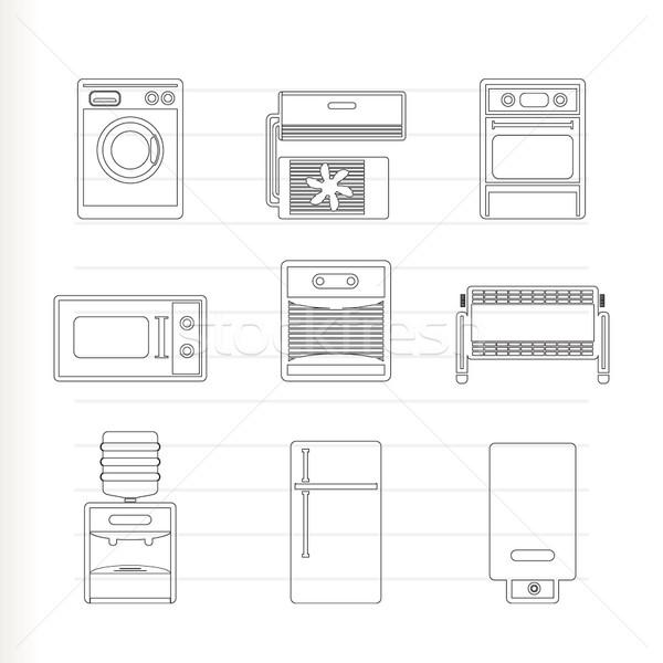 Stockfoto: Home · elektronica · uitrusting · iconen · vector