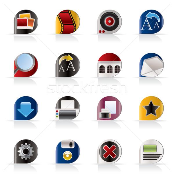 Internet website iconen vector technologie Stockfoto © stoyanh