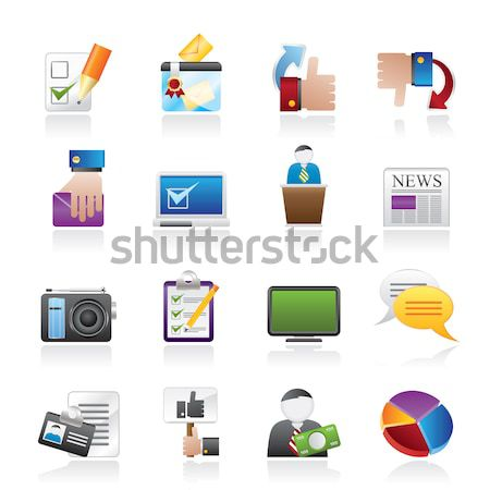 Media informatie iconen vector vrouw Stockfoto © stoyanh