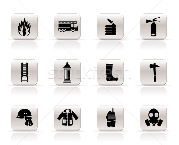 Simple fire-brigade and fireman equipment icon  Stock photo © stoyanh