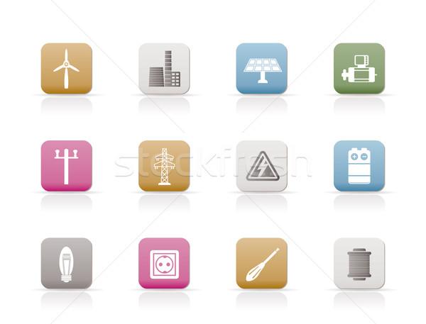 Foto stock: Eletricidade · poder · ícones · vetor · negócio