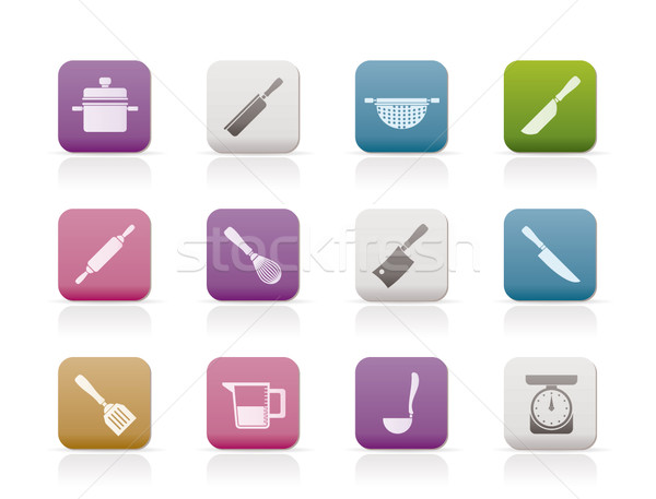 Stock photo: Cooking equipment and tools icons