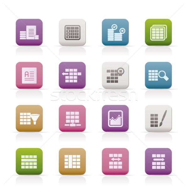 Bazy danych tabeli ikona wektora technologii Zdjęcia stock © stoyanh