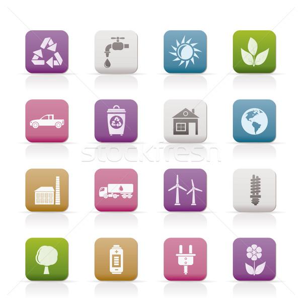 Stock fotó: ökológia · környezet · ikonok · vektor · ikon · gyűjtemény · üzlet