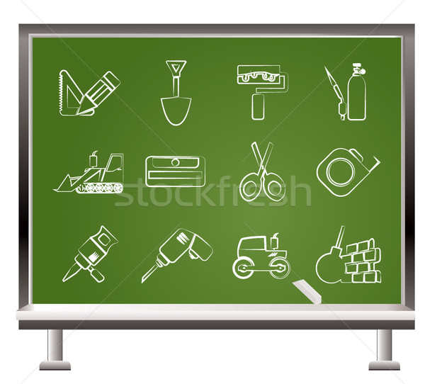 painted with chalk building and construction icons  Stock photo © stoyanh