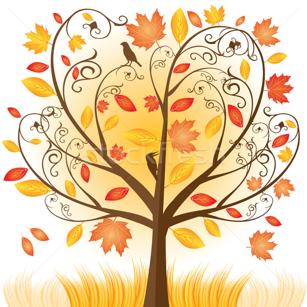 Stock photo: Beautiful autumn tree with fall Leafs