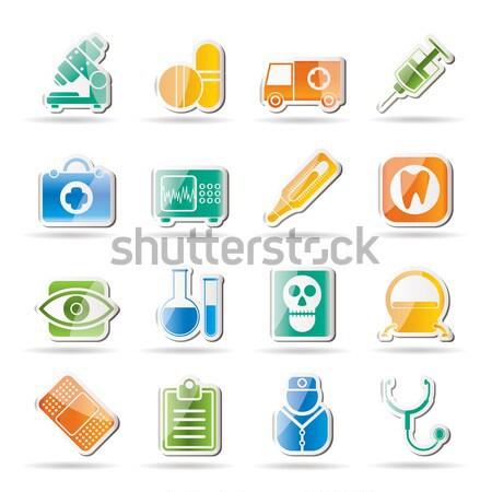 Médicaux santé icônes vecteur Photo stock © stoyanh