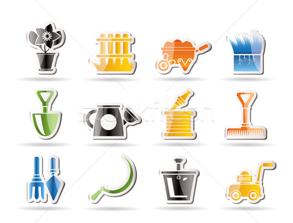 Garden and gardening tools icons Stock photo © stoyanh