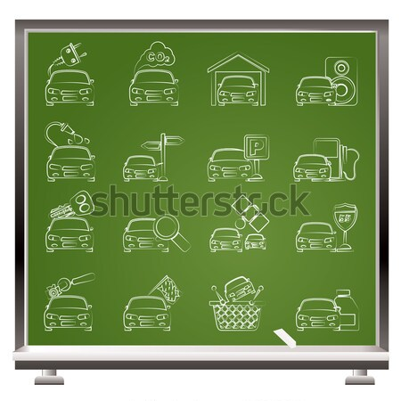Stock photo: painted with chalk car and transportation insurance and risk icons