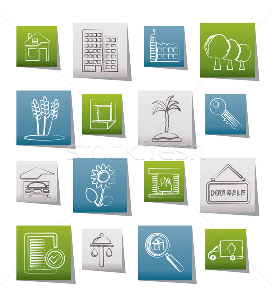 Real Estate and building icons  Stock photo © stoyanh