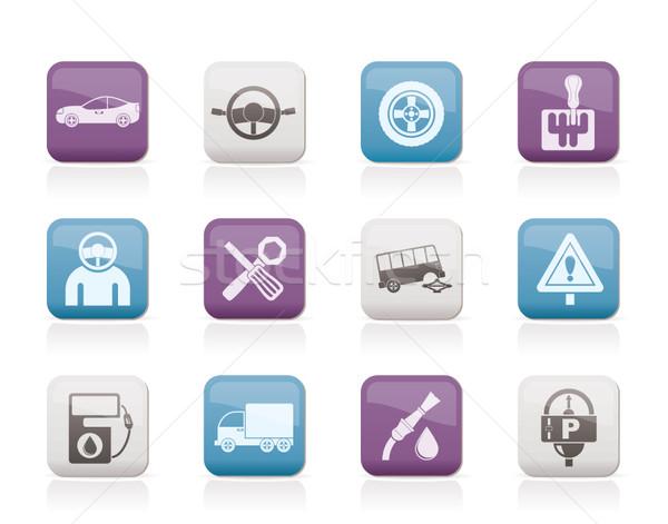 Samochodu usług transport ikona wektora Zdjęcia stock © stoyanh