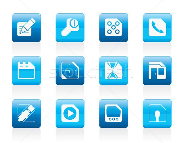 Stockfoto: Mobiele · telefoon · computer · internet · pictogrammen · vector · muziek