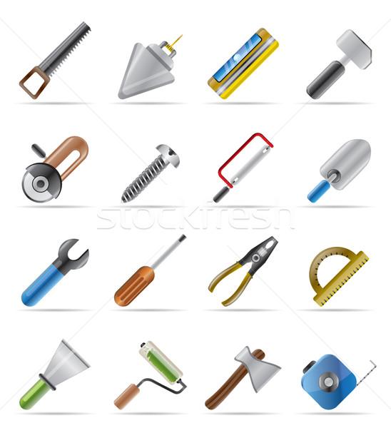 Edifício construção ferramentas ícones vetor Foto stock © stoyanh