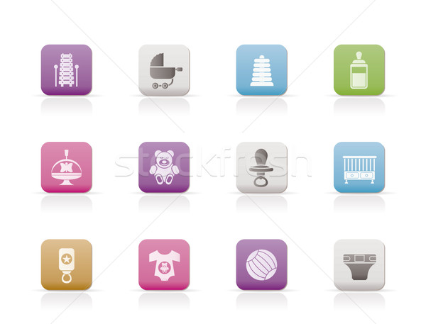 Stock photo: Child, Baby and Baby Online Shop Icons