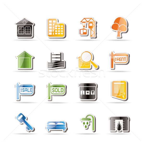 Foto stock: Simple · inmobiliario · iconos · vector · ordenador