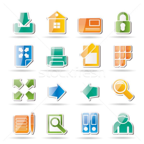 Stock fotó: Internet · weboldal · ikonok · vektor · ikon · gyűjtemény · üzlet