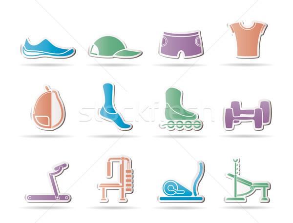Spor malzemeleri nesneler simgeler vektör ayakkabı Stok fotoğraf © stoyanh