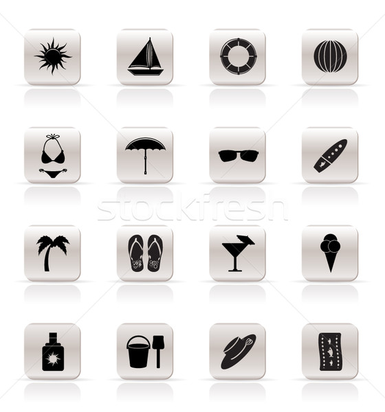 Simple Summer and Holiday Icons Stock photo © stoyanh