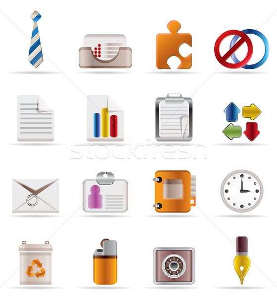 Stockfoto: Realistisch · business · kantoor · iconen · vector