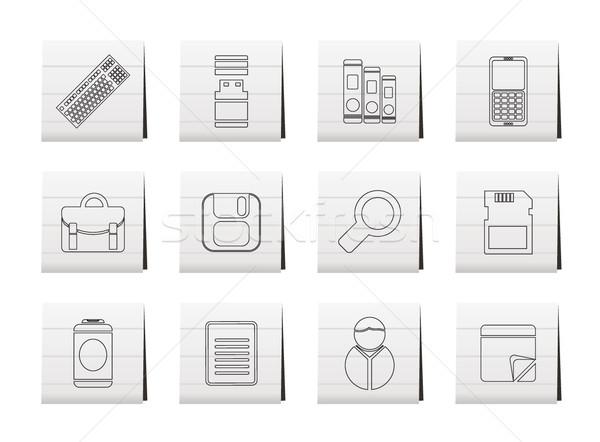 Stock fotó: üzlet · iroda · szerszámok · ikonok · vektor · ikon · gyűjtemény
