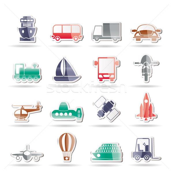 Közlekedés utazás szállítmány ikonok vektor ikon gyűjtemény Stock fotó © stoyanh